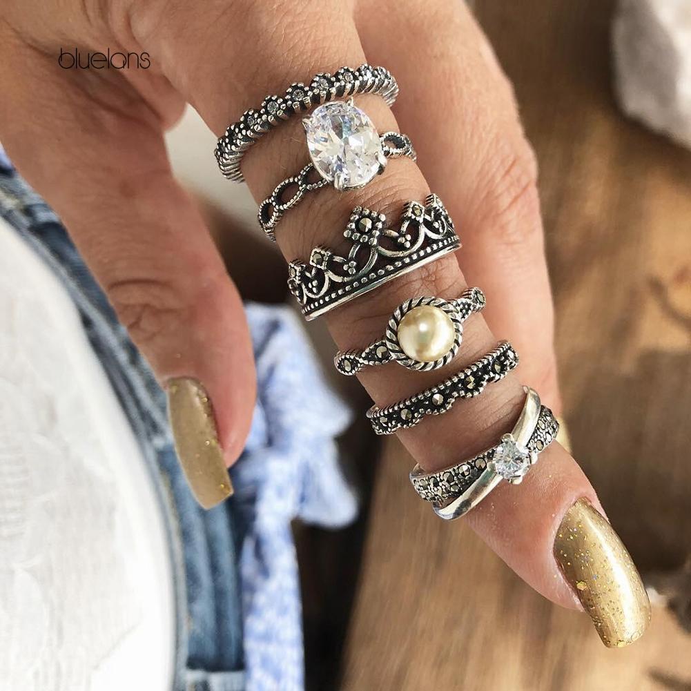 6Pcs Women Retro Stars Opening Adjustable Knuckle Finger Ring Band Midi Rings