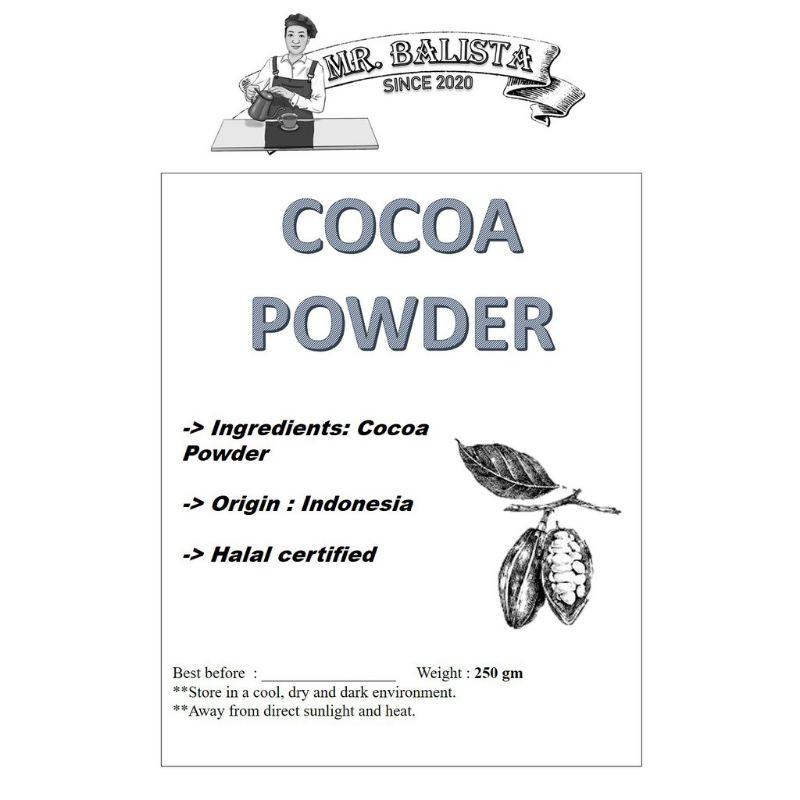 "100 PURE COCOA POWDER / Serbuk Koko 100% Asli ""MR. BALISTA"" (250GM)"