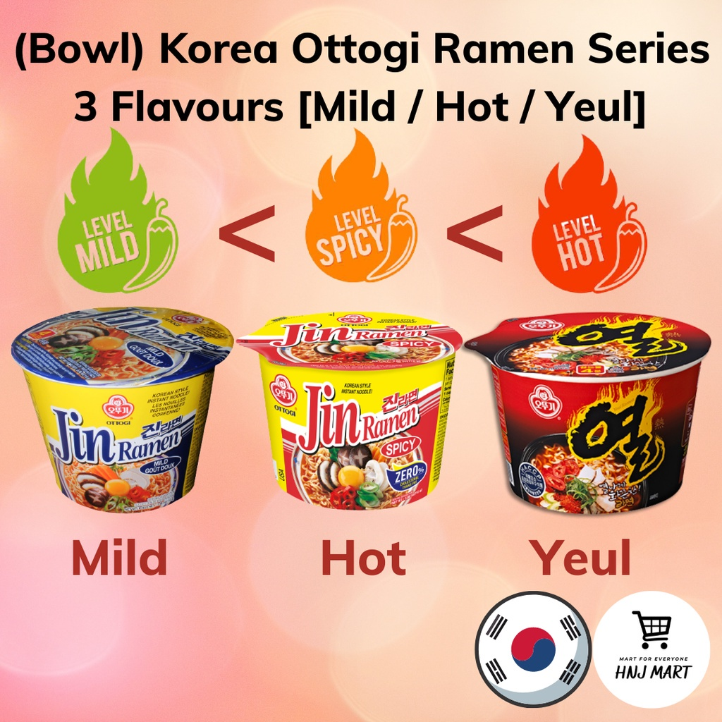 (Bowl) Korea Ottogi Ramen Series 3 Flavours [Mild/Hot/Yeul] Ottogi Jin Ramen Mild/Ottogi Jin Ramen Hot/Ottogi Yeul Ramen