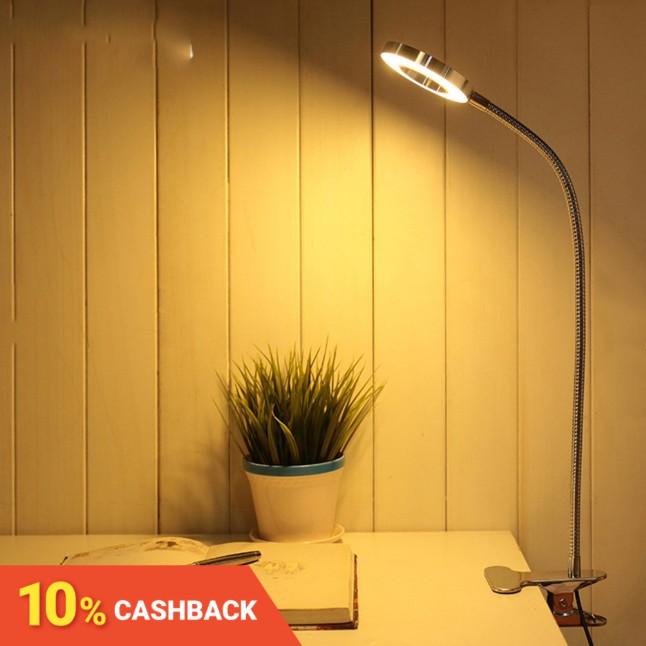 โคมไฟตั้งโต๊ะอ่านหนังสือโลหะ USB LED หนังสือ หรี่แสงได้ โทนสีขาว