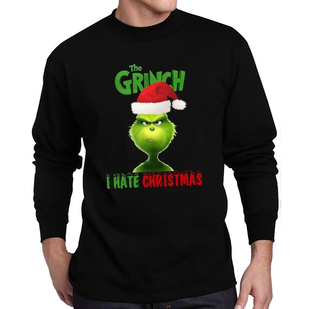 The Grinch T Shirt New Movie Tee I Hate Christmas Long Sleeve T-Shirt
