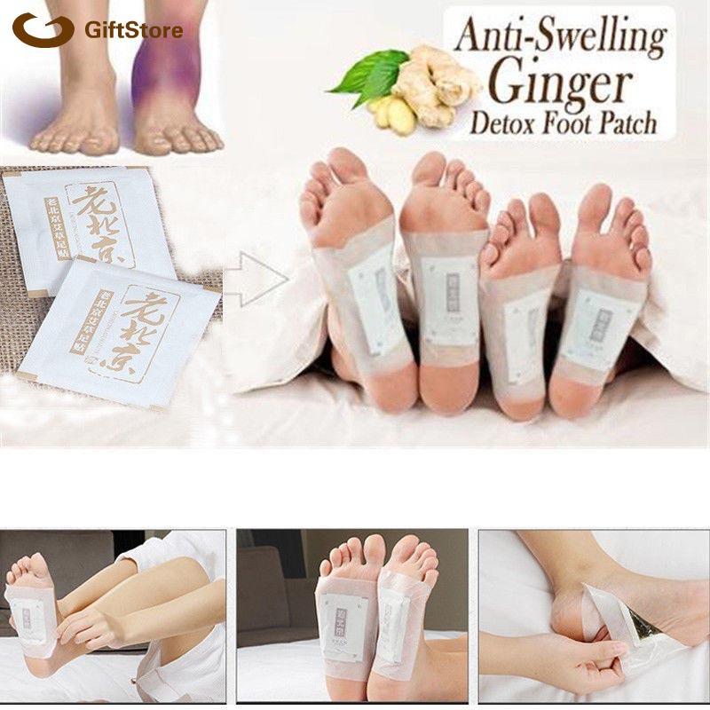 50 Pcs Anti-Inflammation Sweilling Ginger Foot Patch Organic Herbal Kinoki Detox Pads | Shopee Malaysia