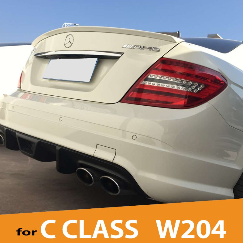 W204 ABS Unpainted Rear Wing Lip Spoiler for Mercedes-Benz W204 2008-2013