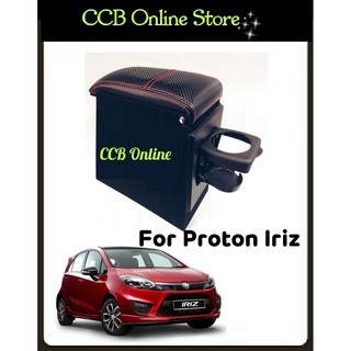 Car Armrest PVC Red Line With Drink Holder For Proton Iriz