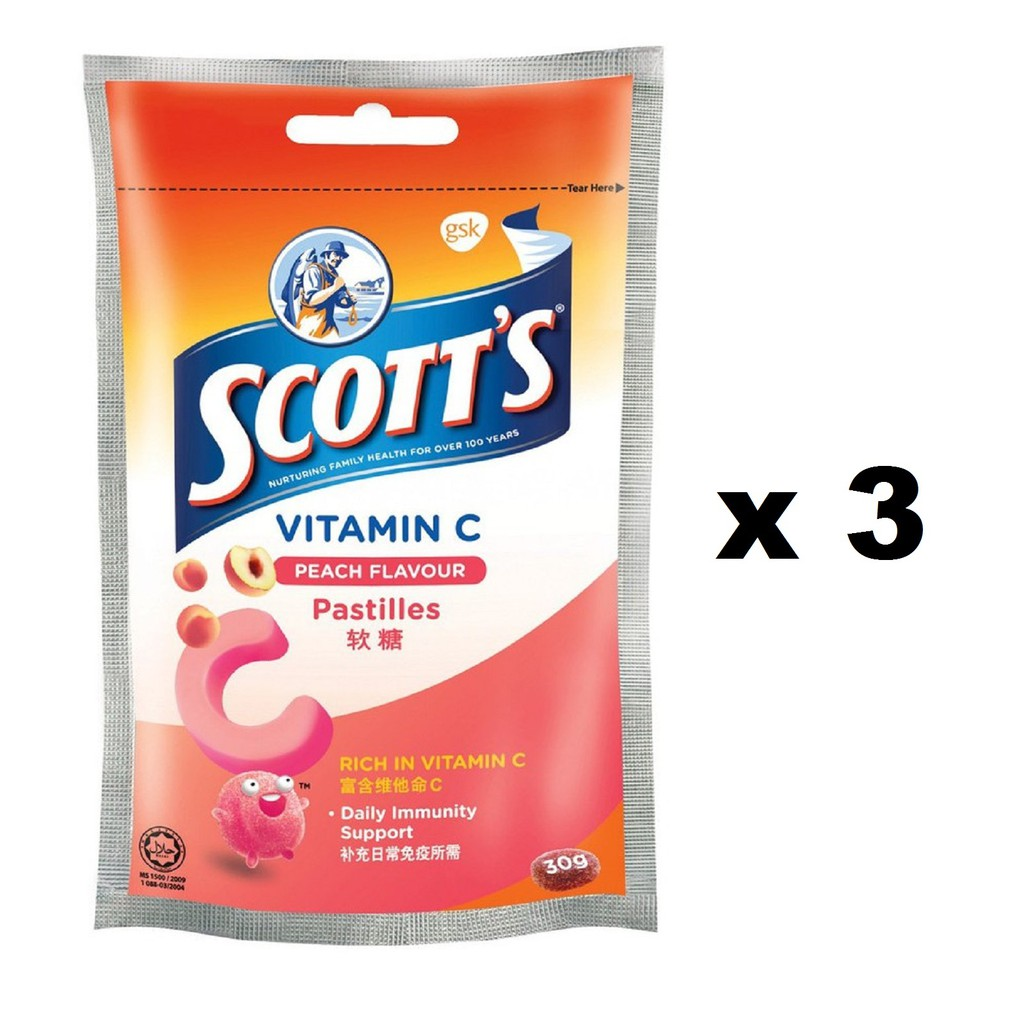Scotts Vitamin C Pastille 15s Peach Zipper 3x