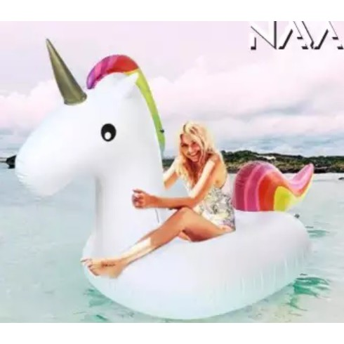 NaVa Fashion Inflatable Rainbow Unicorn Float with Electric Pump (250cm)