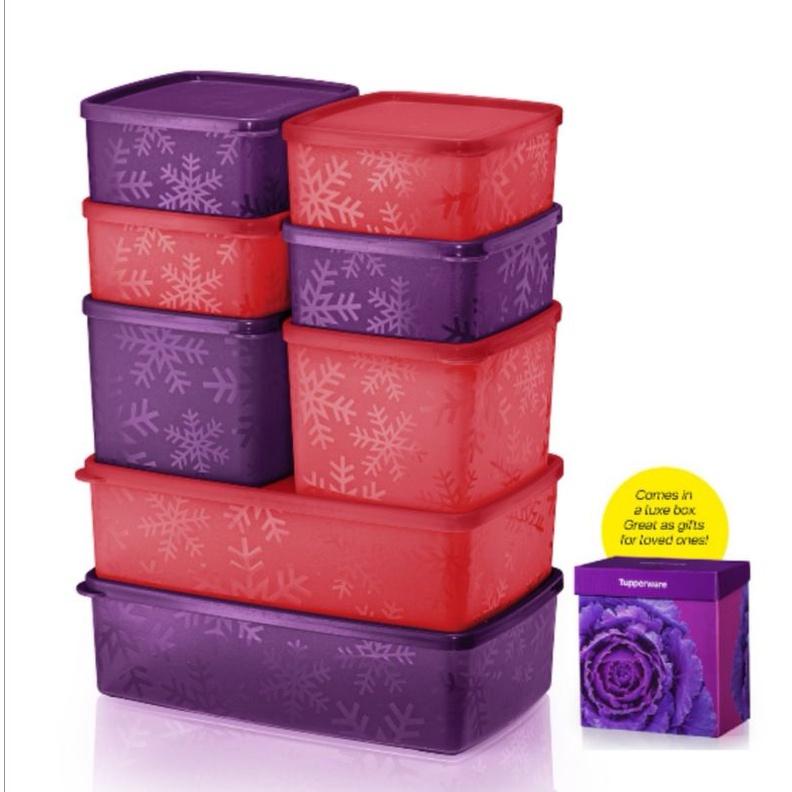 【READY STOCK】Tupperware ( 8pcs + gift box ) Snowflake Square Round Set Fridge Buddy Set Cool Buddy