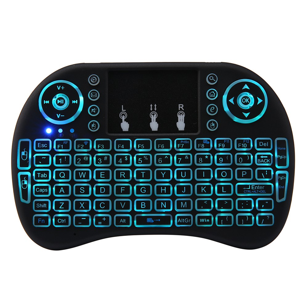 RAINBOW LED BACKLIT WIRELESS 3 IN 1 MINI KEYBOARD SMART TV REMOTE MULTIMEDIA CONTROL AND TOUCH PAD FUNCTION HANDHELD KEY