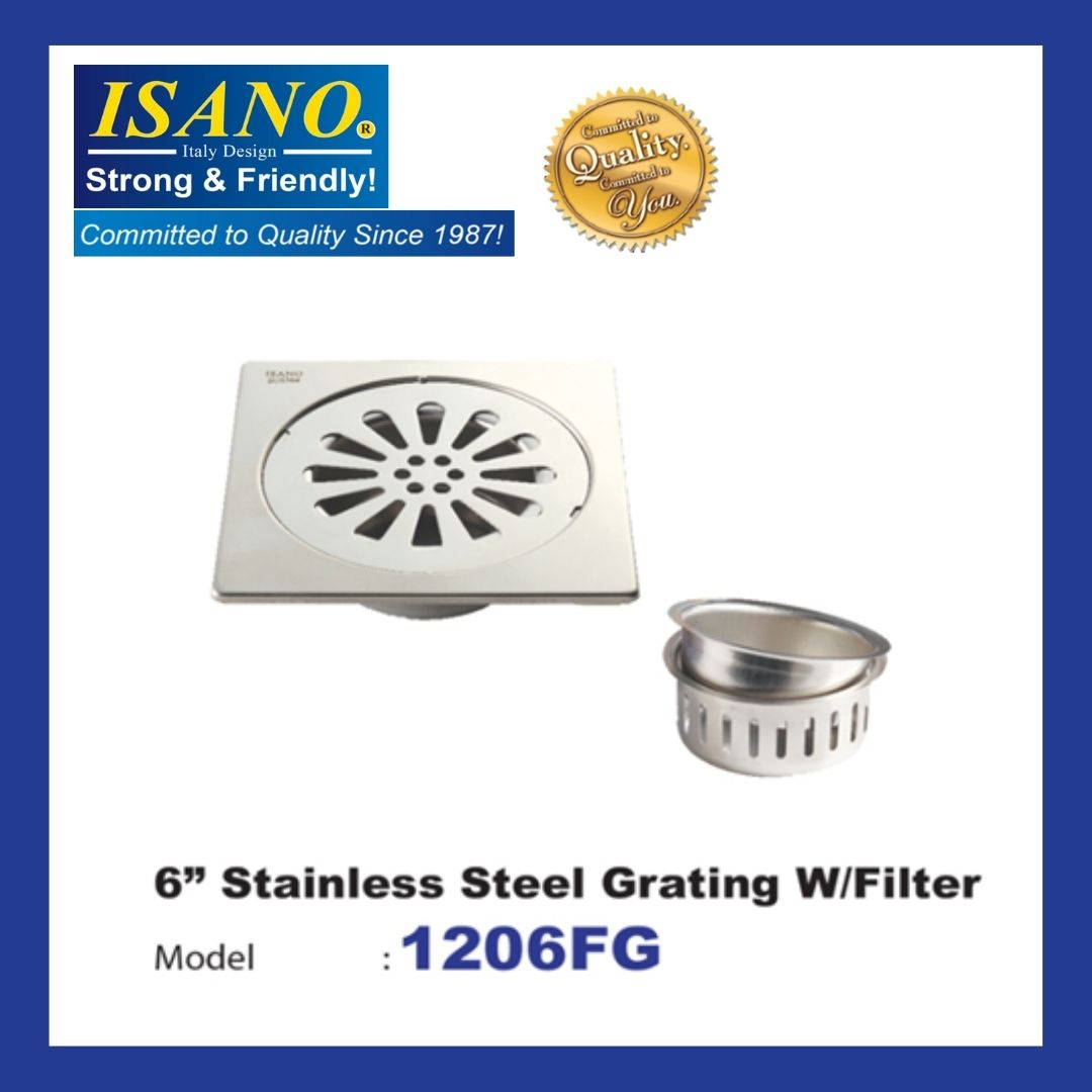"""ISANO  STAINLESS STEEL GRATING W/FILTER 6""""- 1206FG"""