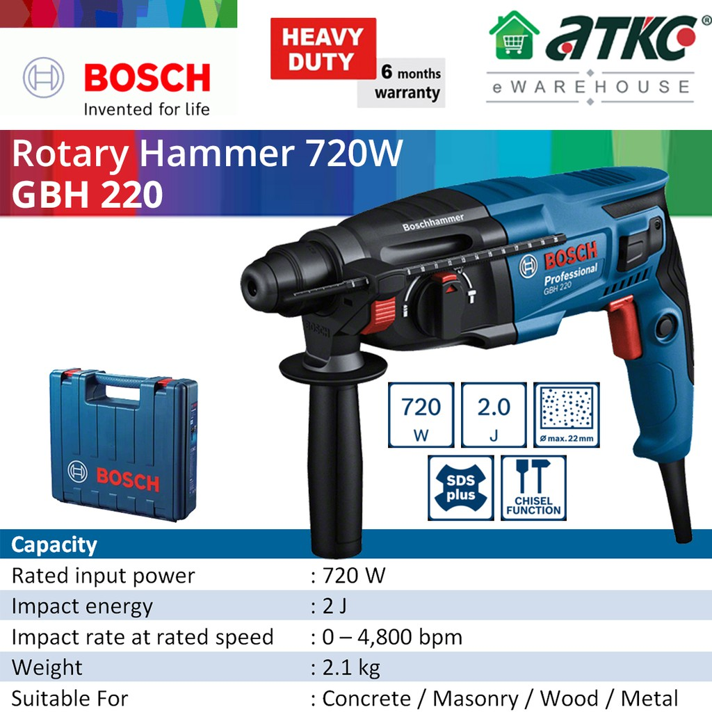 BOSCH GBH 220 3-Modes Rotary Hammer Professional With SDS-Plus 720W (06112A60L0)