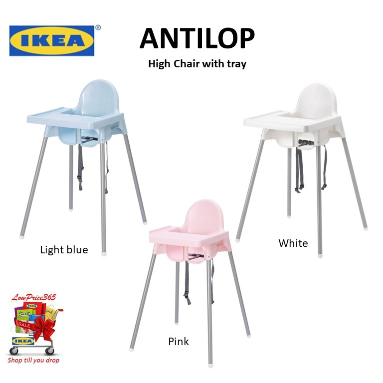 White 3 X IKEA Antilop Highchair with Tray
