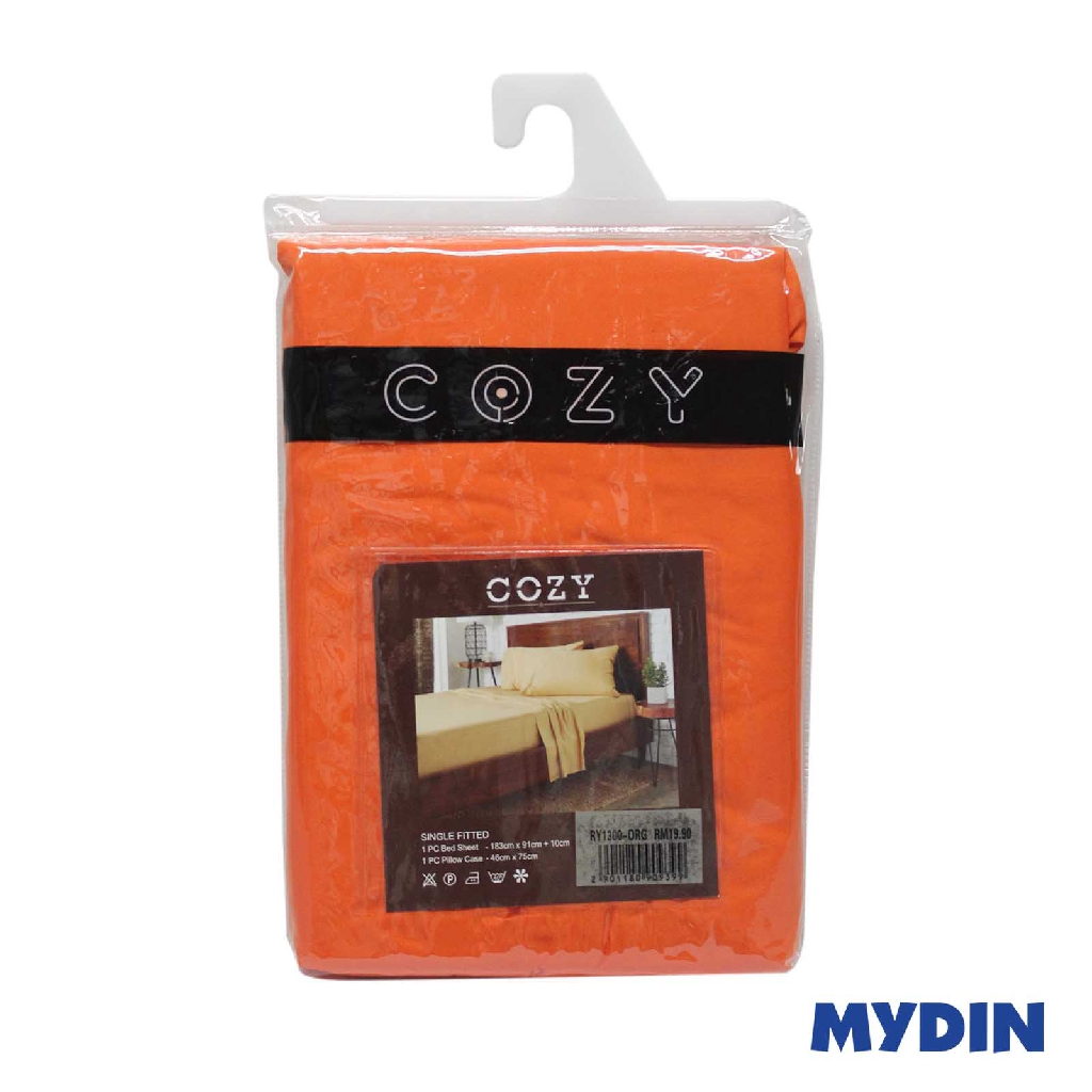 Cozy Bed Sheet Fitted Single 2in1 Orange RY1300-ORG