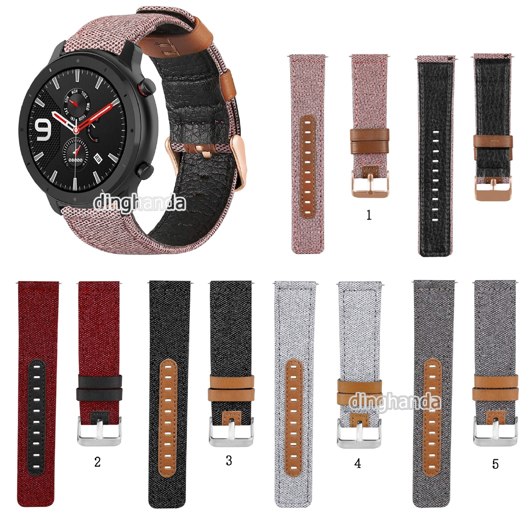 Canvas Fabric Straps Genuine Leather for Huami Amazfit GTR 47mm