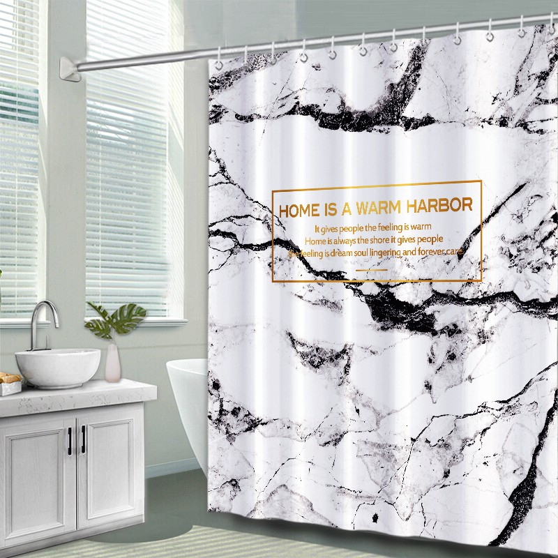 nordic style ins marble shower curtain toilet tarpaulin partition curtain bathroom curtain set free punch