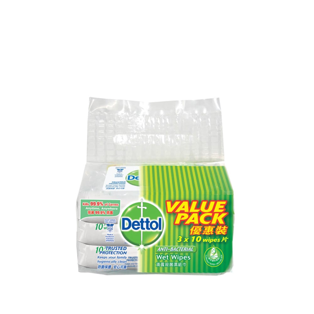 Dettol Anti-Bacterial Wet Wipes Value Pack 10's x 3