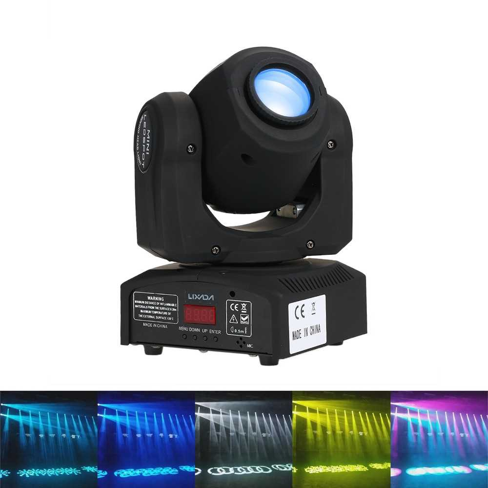 Lixada 30W Rainbow 7 Colors Changing Head Moving LED Stage Light