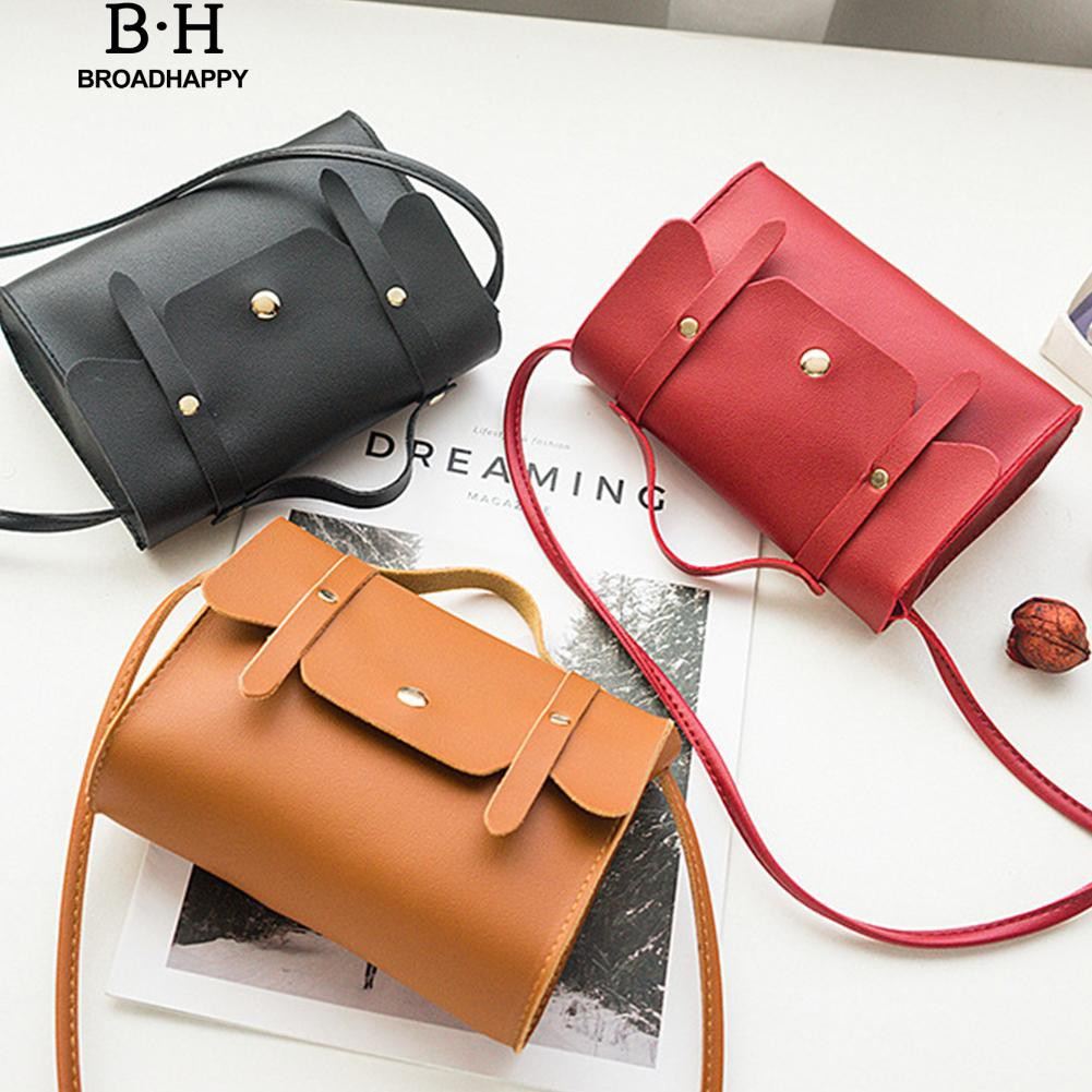 broadhappy Solid Buckle Shoulder Bag Messenger Crossbody Pouch