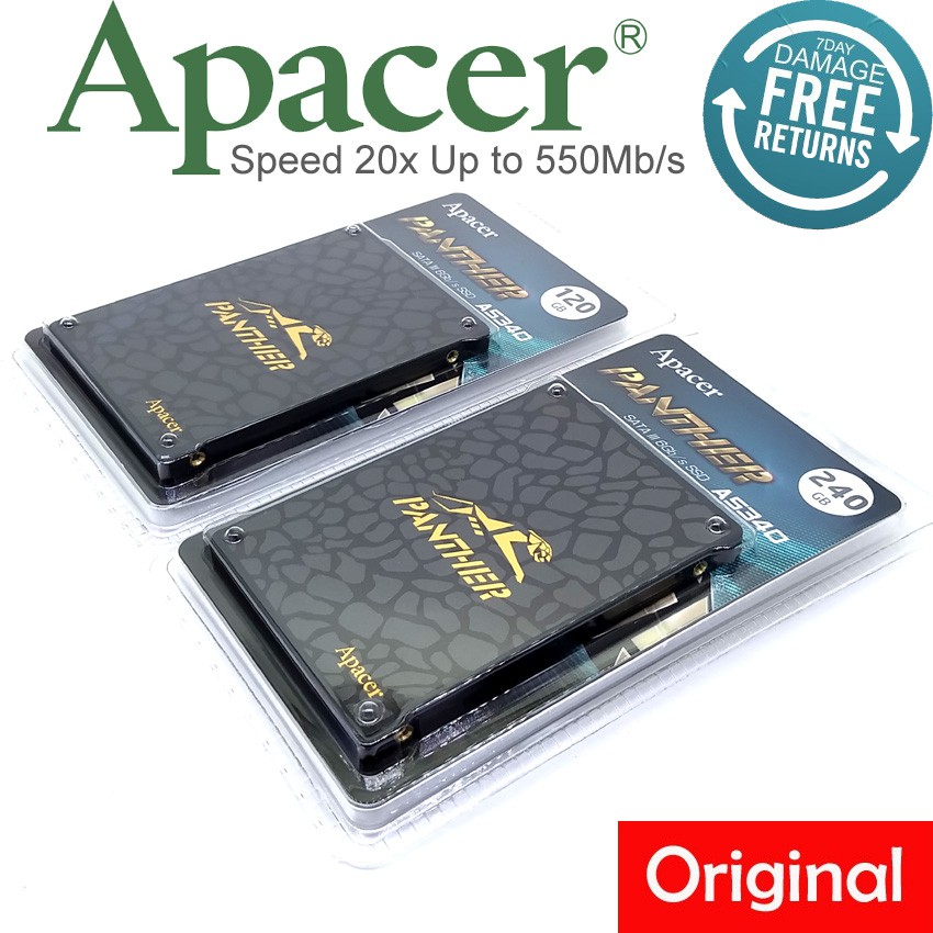 Official Apacer AS340 120GB / 240GB Panther 2 5 Sata III SSD Speed 20x Up  to 550Mb/s