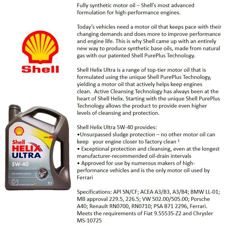Shell Helix Ultra 5W40 4L *Free Shell Tool Box*