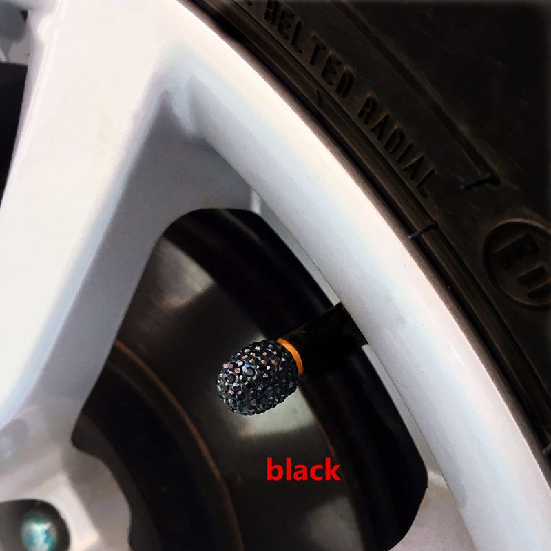 4PCS Crystal Car Tire Valve Caps Diamond Shining Car Accessories Bling Car Charm