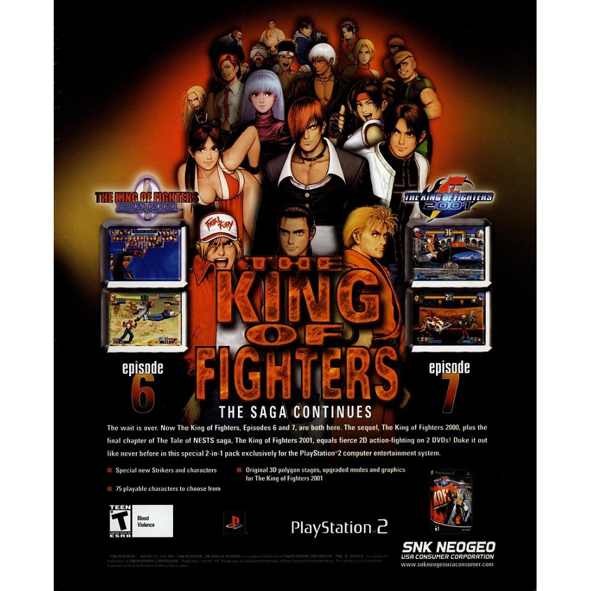 PS2 Game The King of Fighters The Saga Continues, English version, Fighting Game / Multi 2 in 1 Games