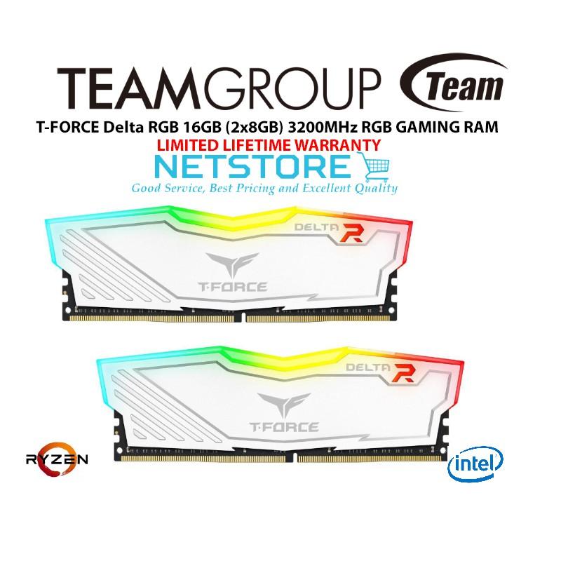 TeamGroup T-FORCE Delta RGB 16GB (2x8GB) 3200MHz RGB GAMING RAM - WHITE  TF4D416G3200HC16CDC01