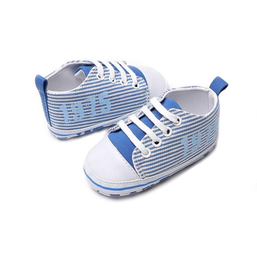 Infant Toddler Baby Casual Shoes Cotton Stripe Soft Sole Non-Slip Sneaker Prewalker Pink 4M (Blue)