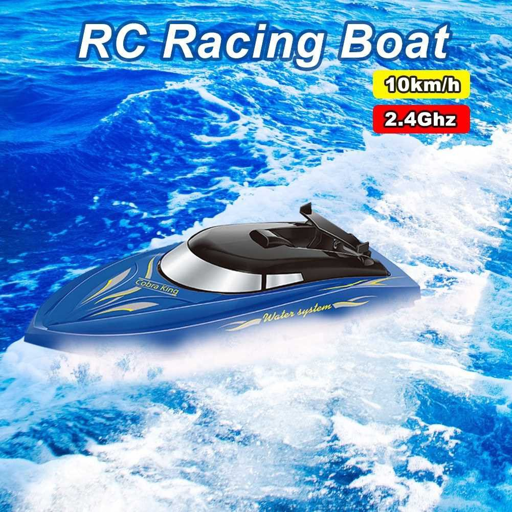 RC Boat for Kids Adult 10KM/H High Speed 2 Channels Remote Control Boats for Pools Racing Boat (Blue)