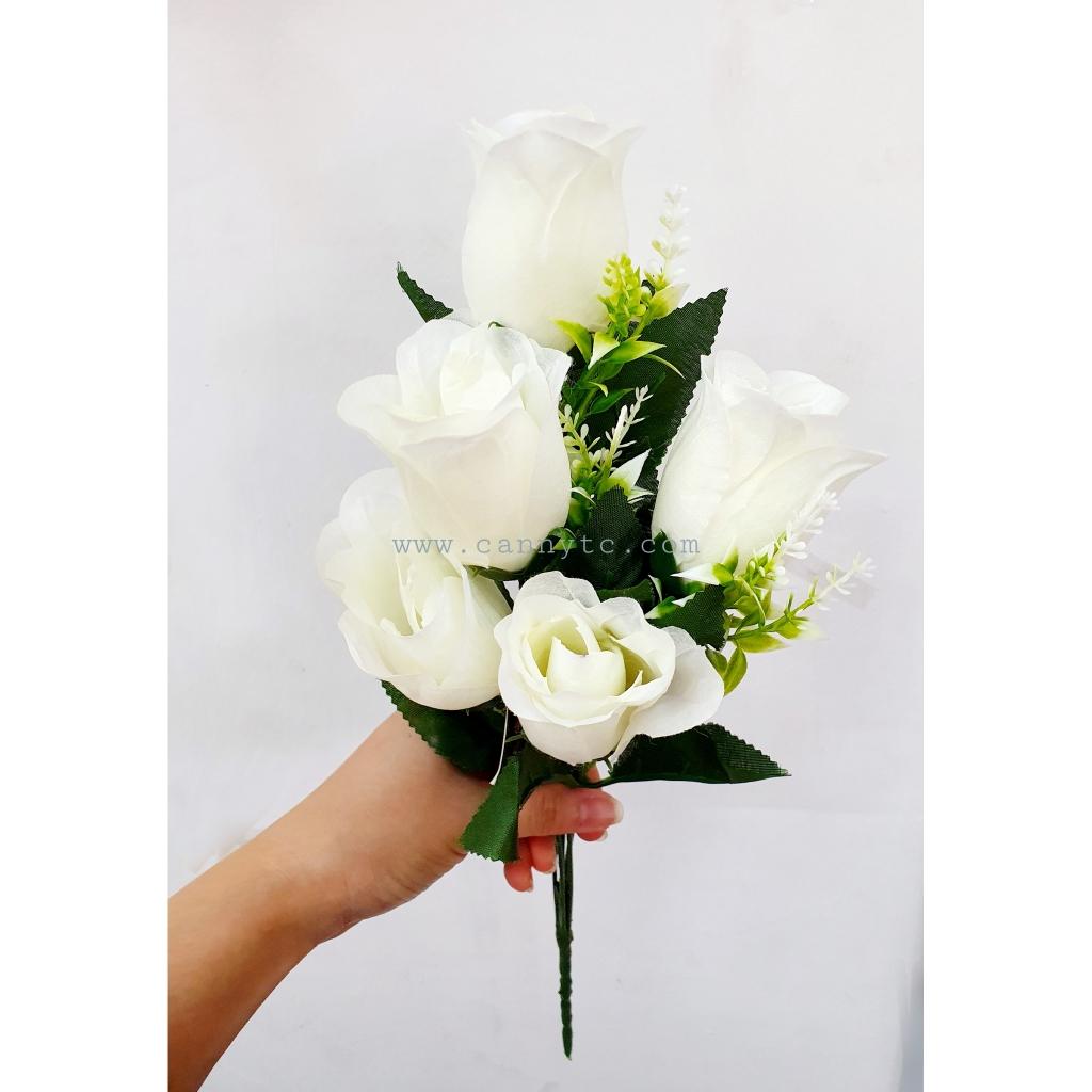 Rose with Little Flower 5 Head / Bunga Rose Dengan Bunga Kecik (1 Jambak - 5 Kepala)