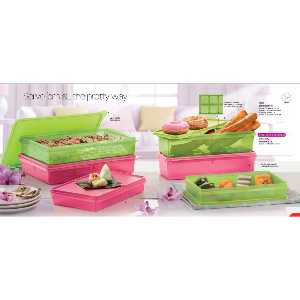 Tupperware Slice N Stor 1.4L (Pink/Green)