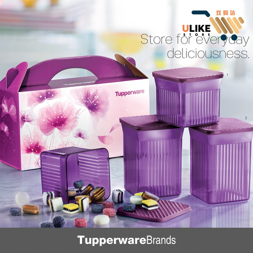 Tupperware Elegant Square Purple/ Crystalline Canister 780ml Elegant Round Gift Set #Tupperware elegant square set