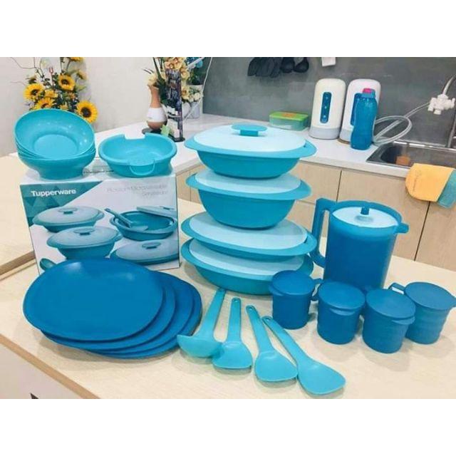 Tupperware Bekas Lauk Set Hidang Blossom Serving Set Set Pinggan Mangkuk Tableware Plates Bowls Jug Mugs Microwaveable
