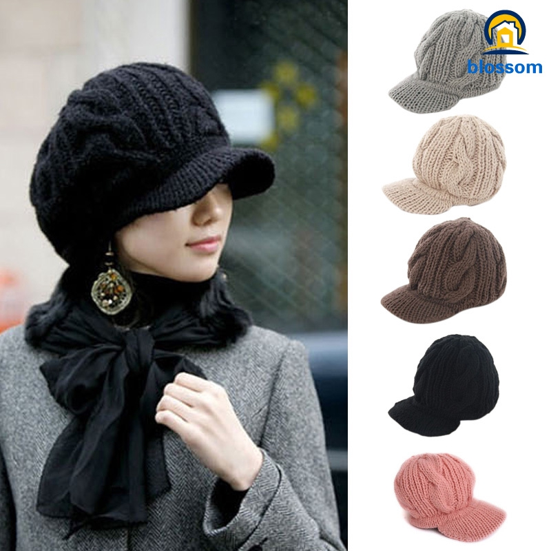 9af9854a9a2849 Fashion Women Peaked Cap Hat Winter Warm Caps Knitted Headwear Outdoor Hats  | Shopee Malaysia