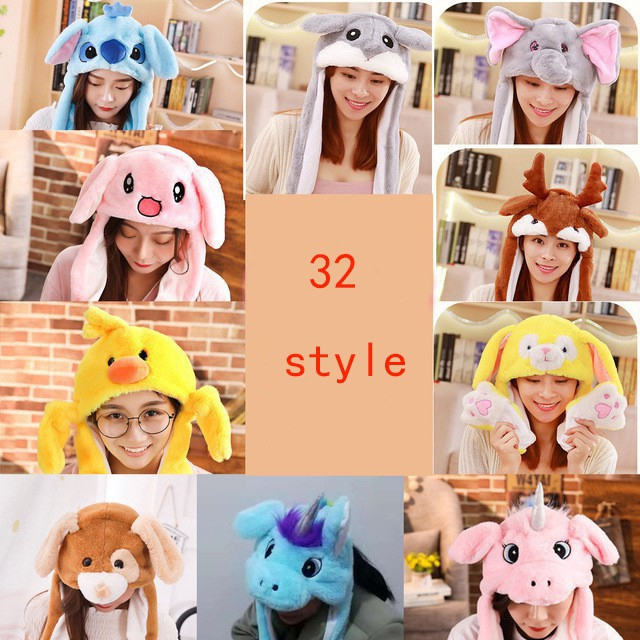 Cute White Rabbit Pinching Bunny Ear Hat Can Move Airbag Cap