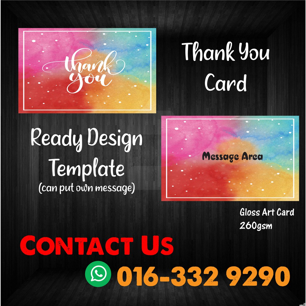 Thank You Card / Business Card (Ready Templete)-100pcs