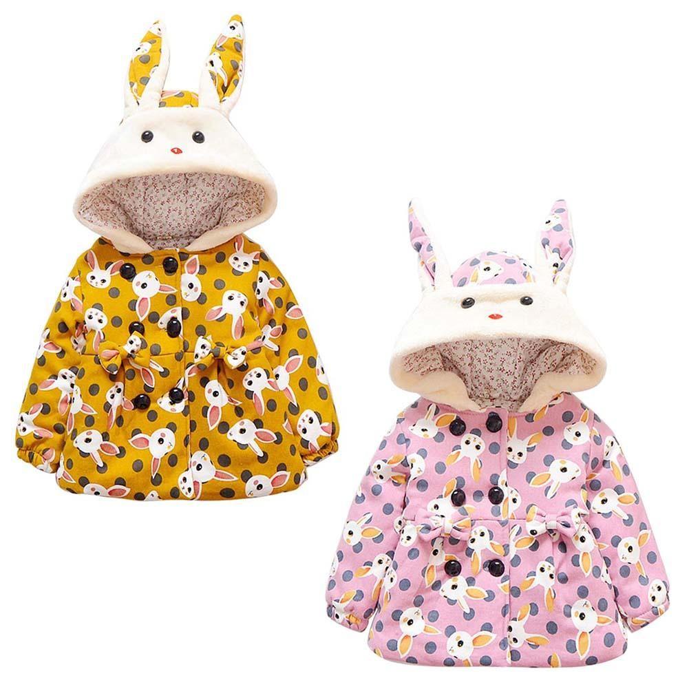 f53bb49db fi!1-4Y Girls Kids Winter Warm Rabbit Dot Print Thicken Hooded Coat ...