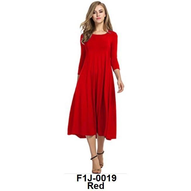 cde3e39d985c8 Women's 3/4 Sleeve A-line Blouse Midi Dress Dresses Red