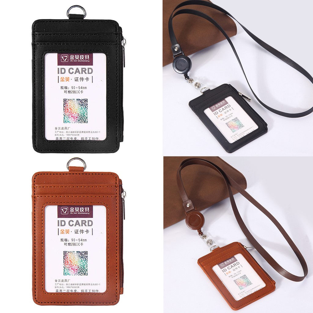 PU Leather Name Card Holders Protective Shell Card Sleeve Bus ID Holders