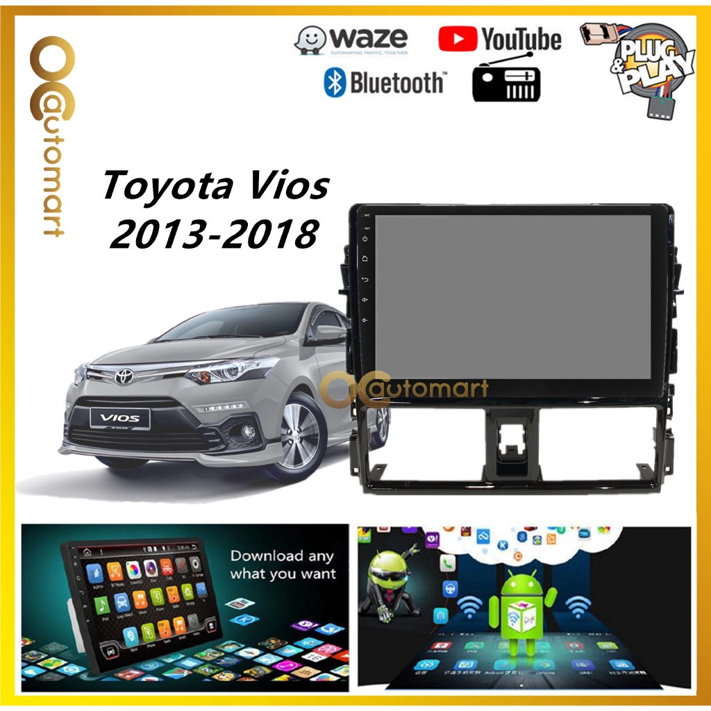 """Toyota Vios 2014-2018 Big Screen 10.1"""" Plug and Play OEM Android Player Car Stereo With WIFI Video Player/TouchScreen"""