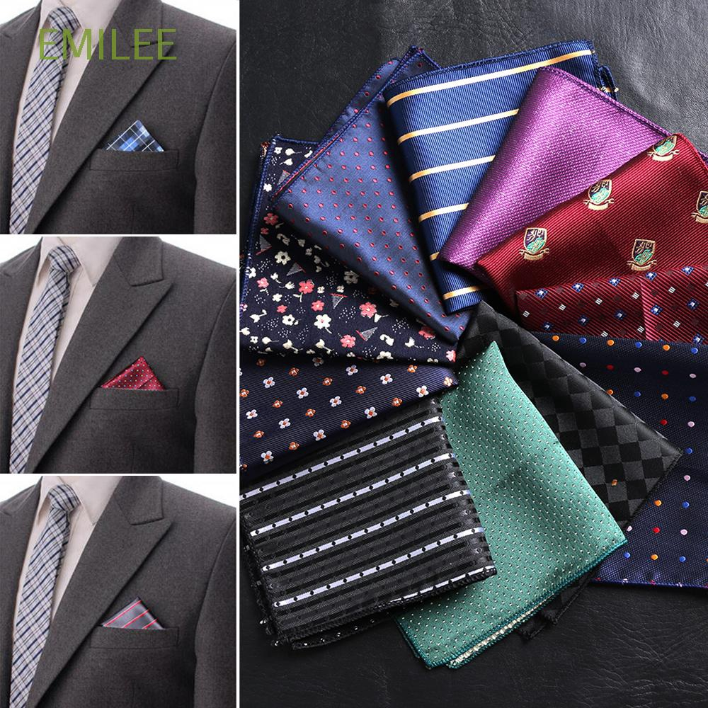 "5pcs 10/"" Stripe Floral Men Silk Satin Wedding Party Handkerchief Pocket Square"