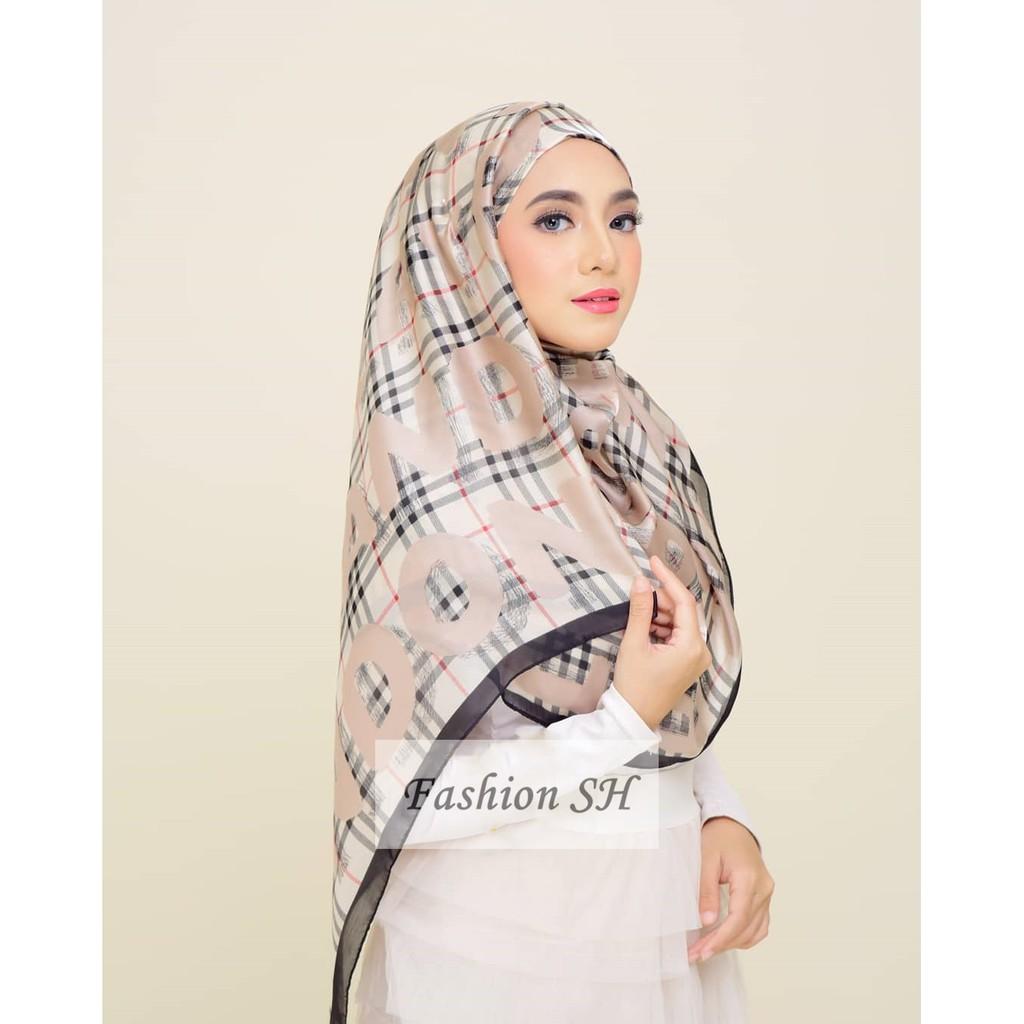 Stylish Wide Scarf Printed Shawl Satin Hijab 180x90cm Large Size C204