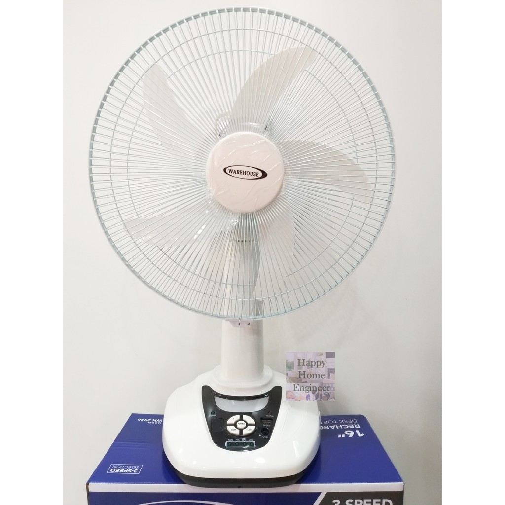 "16"" Rechargeable Table Fan with USB charging port"