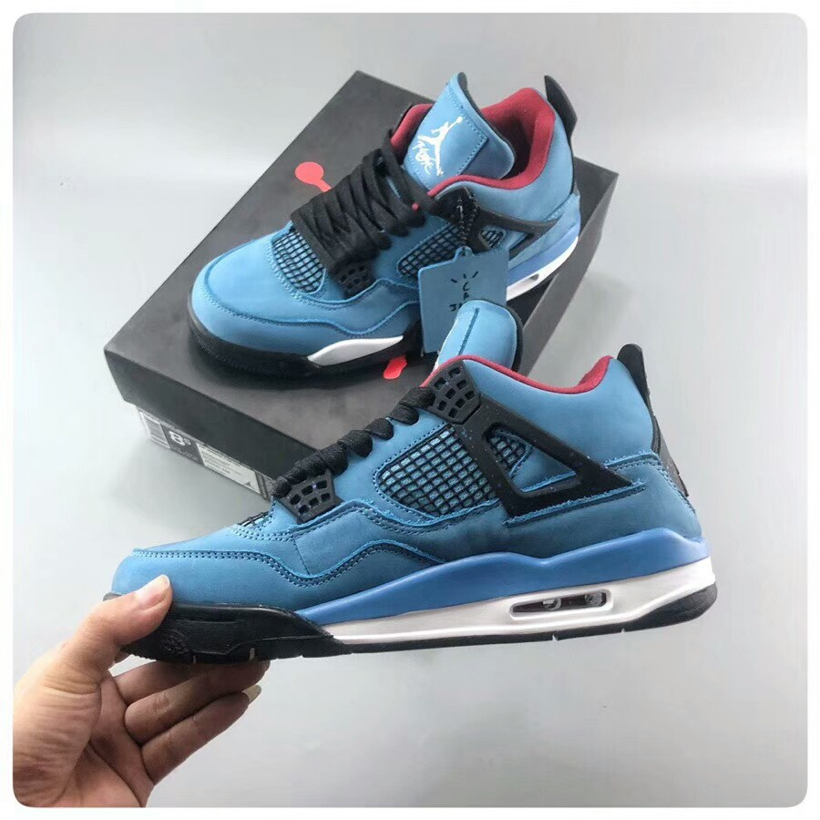 "promo code bb009 f80ce 100% Original Nike Air Jordan 4 x Travis Scott AJ4 Blue Suede ""Houston  Oilers"" 308497-406"
