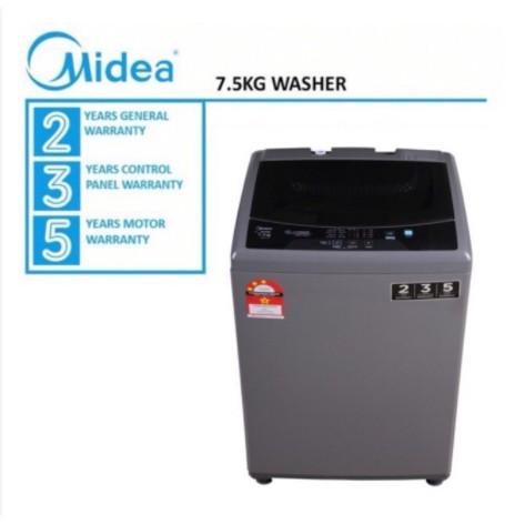 Midea Washing Machine 7.5 Kg Fully Auto Mesin Basuh 7.5kG MFW-752S / MFW-EC750S- 5 YEAR MOTOR WARRANTY MFW-EC752