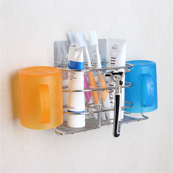 Non-drilling wall mounted Toothbrush Rack( with Cups)