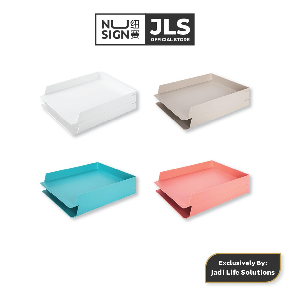 Jadi Nusign Stackable 2 Layers File Tray Holder Collector Colour Set NS021B/NS021R/NS021G/NS021W