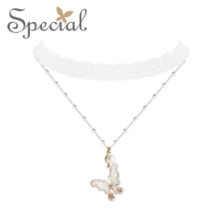 Women's Necklace Clavicle Chain Choker Lined Skin Dreaming Butterfly 欧美气质女项链颈链锁骨链Choker衬肤盗梦蝴蝶