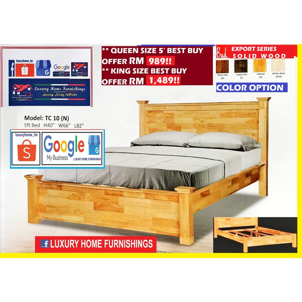 SOLID WOOD BED COLLCETIONS, N10, QUEEN SIZE BED WITH DOUBLE SUPPORT BASE!!