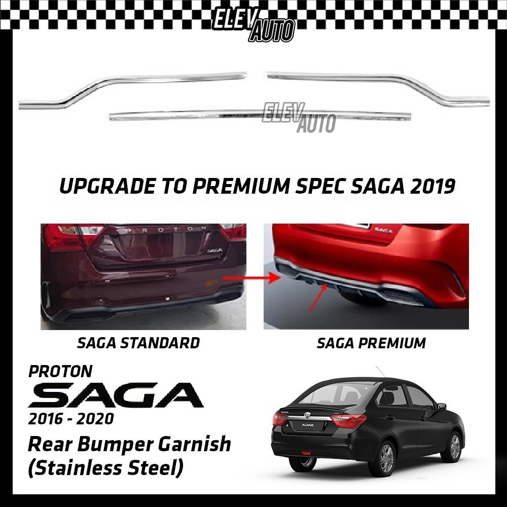 Proton Saga 2016-2021 Rear Bumper Garnish Stainless Steel Upgrade to Premium Saga Gear Up