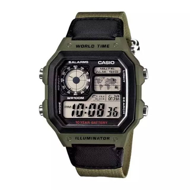 Casio AE-1200WHB-3BVDF Men's Digital World Time Nylon Strap Watch AE-1200WHB-3BVDF